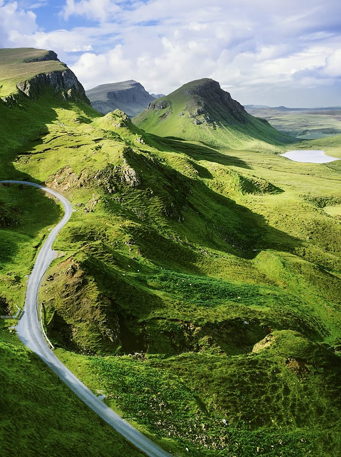 Road passing through The Quiraing on Isle of Skye
